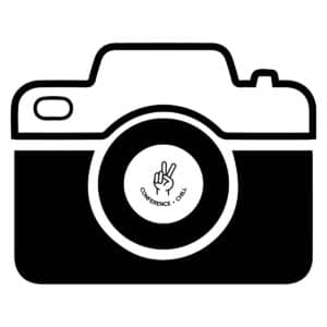 camera icon with the conference and chill logo of a hand making a peace sign inside the lens