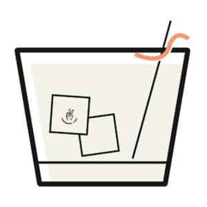 graphic of a short cocktail glass holding icecubes and a straw and orange rind showing the chill cocktails portion of conference and chill